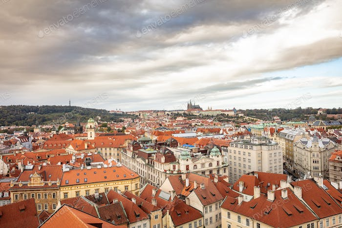 Aerial view of Prague from above, Czech Republic, cloudy day