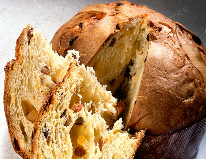 Sliced traditional panettone with fruit