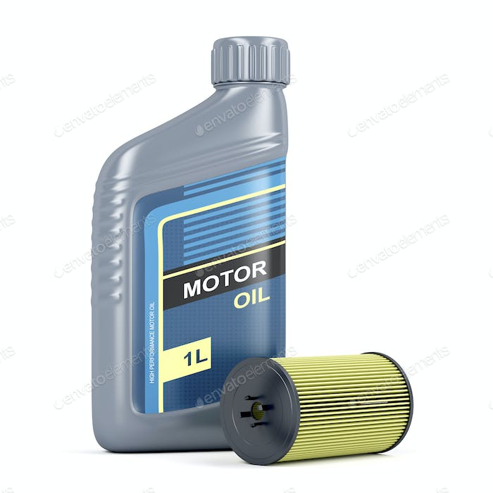 Bottle of motor oil and oil filter cartridge