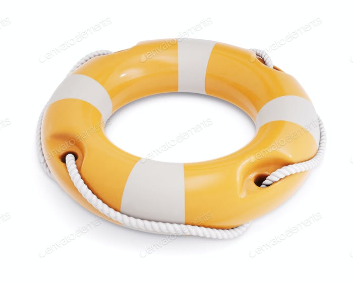 Life buoy for safety at sea, isolated on white background. Lifebuoy closeup. 3d rendering.