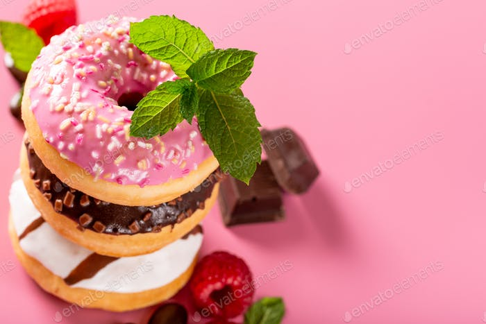 Stack of colorful donuts