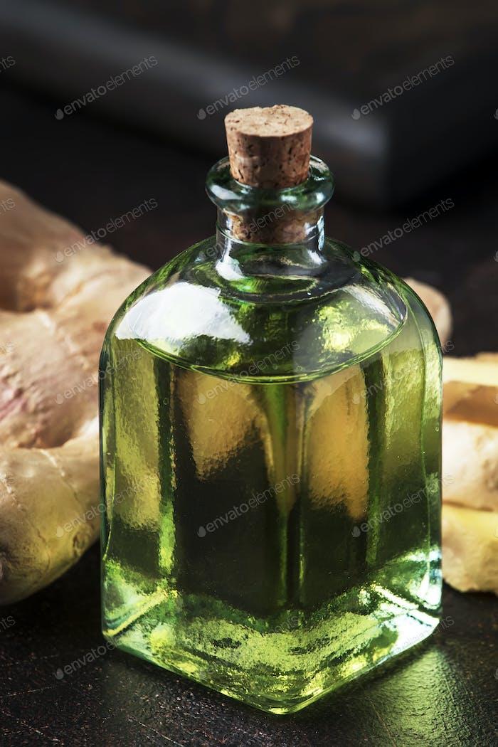 Ginger oil and fresh ginger root