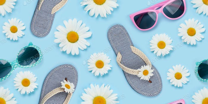 Camomile flower, sunglasses and flip flops seamless texture
