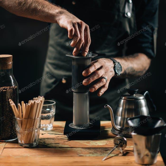 Barista Brewing Aeropress Coffee