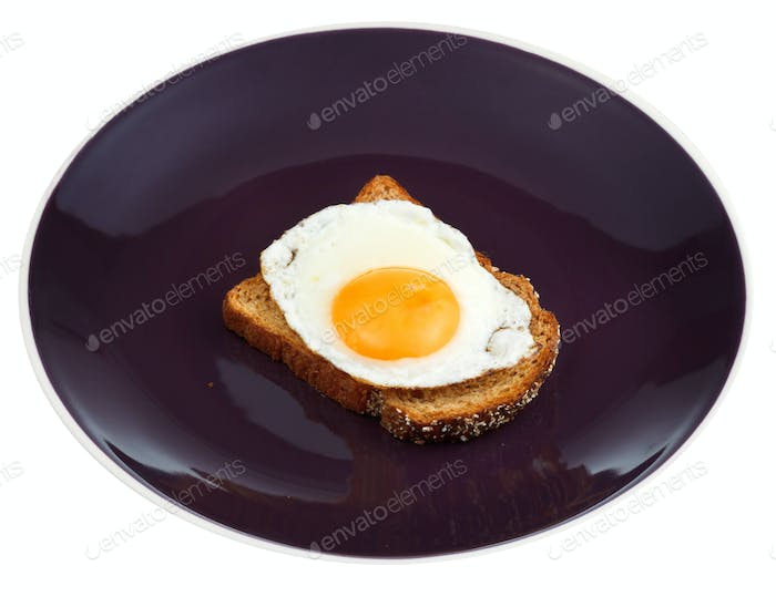 sandwich from fried egg and toasted rye bread