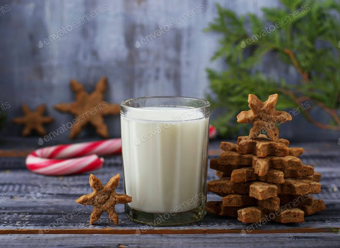 Milch und Lebkuchen Weihnachten Plätzchen
