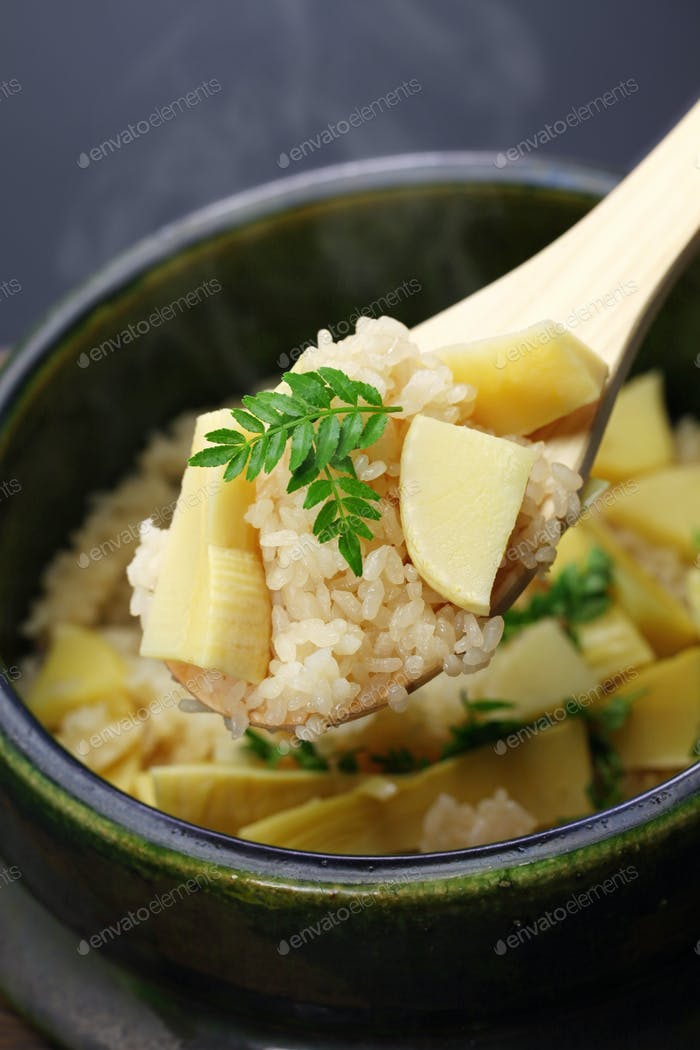 bamboo shoots rice, takenoko gohan, japanese food