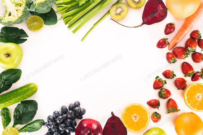 top view of arrangement with fresh vegetables, fruits and berries isolated on white