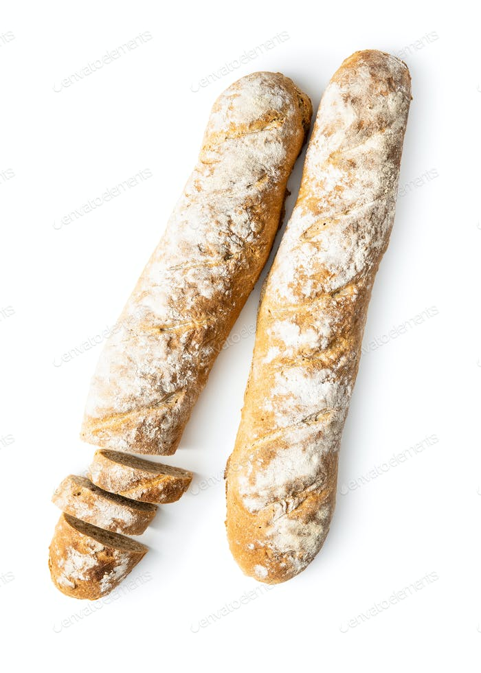Two fresh whole grain bread baguettes