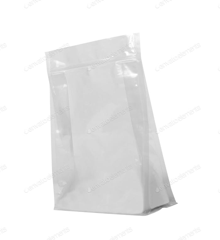 White Mock Up Blank Foil Food Bag isolated
