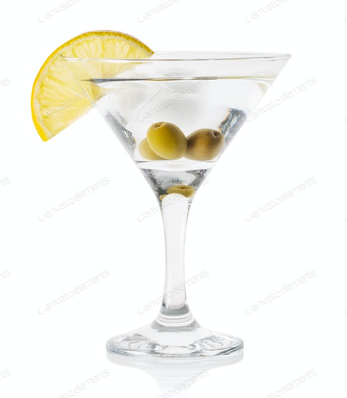 Martini with ice and olives in a transparent glass