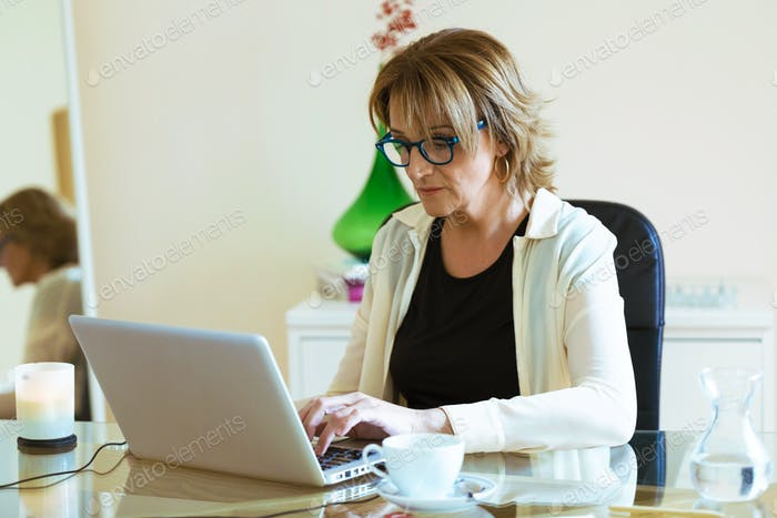Cheerful confident business woman working with her laptop in the office.