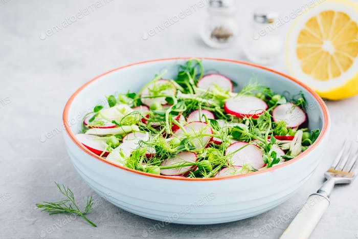 Fresh summer fennel salad with pea shoots and radishes
