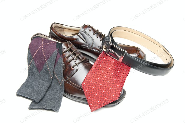 Brown dress shoes with red necktie