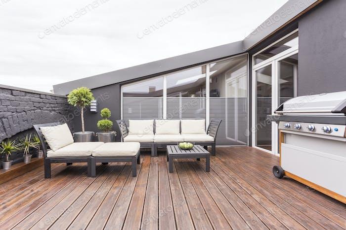 Cozy terrace with wooden floor