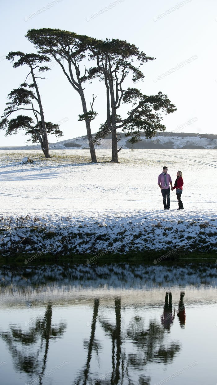 A couple standing in a snow-covered field by a river, holding hands.