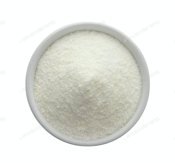 Creamer, Coffee whitener, Non-dairy creamer in a bowl on white b
