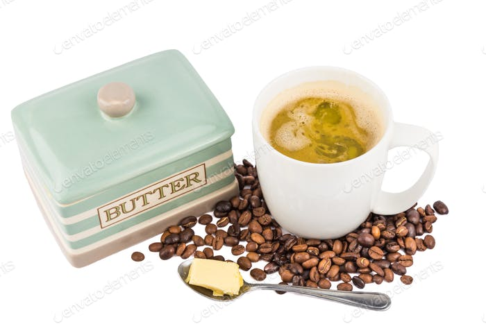 Coffee with added butter or commonly named as bullet proof coffee