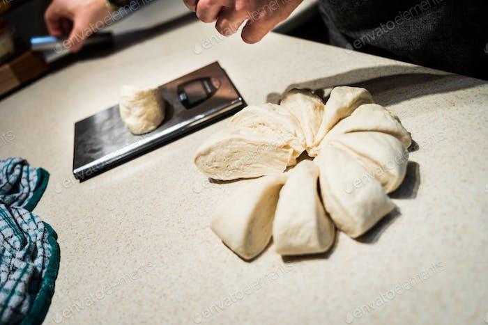 Cook weighting dough