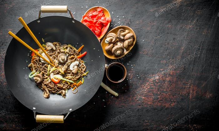 Ready soba noodles with ginger, mushrooms and soy sauce.
