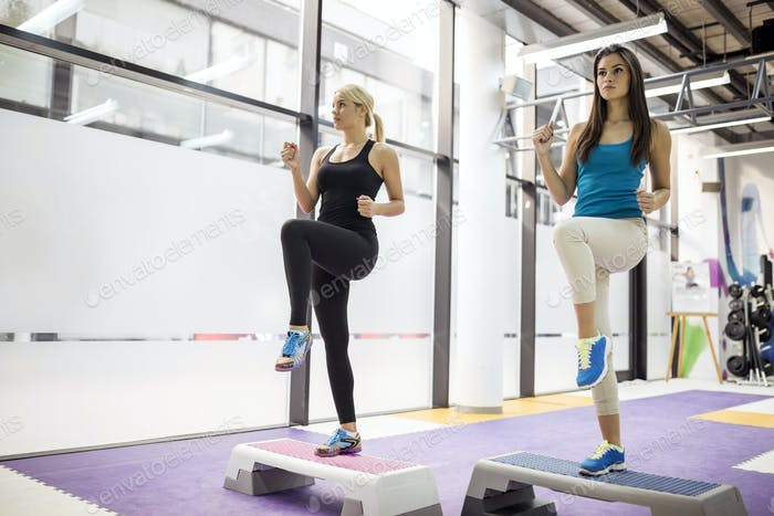 Beautiful women exercising aerobics
