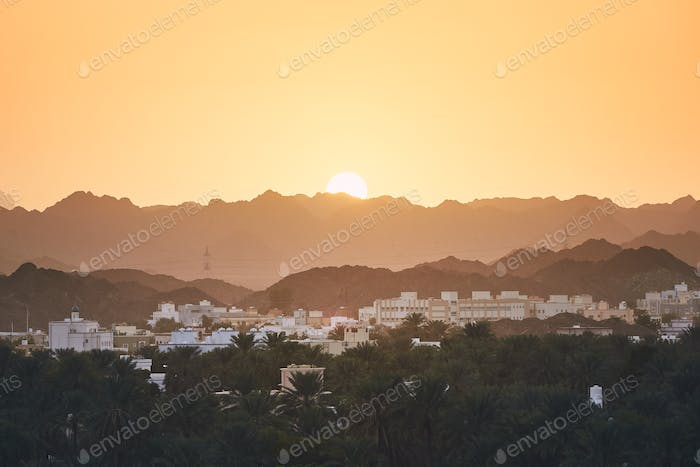 Oman landscape at sunset