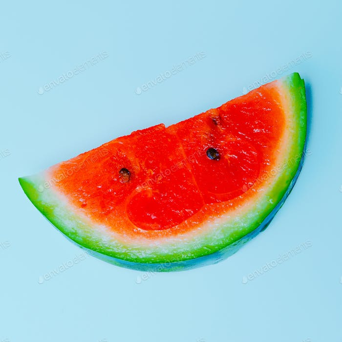 Fresh Watermelon minimal art design. Modern flat lay
