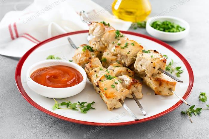 Grilled meat skewers, chicken shish kebab