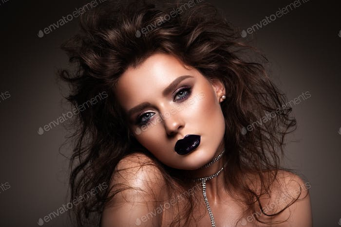 Hair. Beauty Woman with Very Long Healthy and Shiny Smooth Brown Hair. Model Brunette Gorgeous Hair