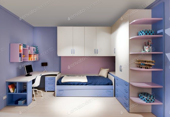 Stylish blue and purple teenagers bedroom interior