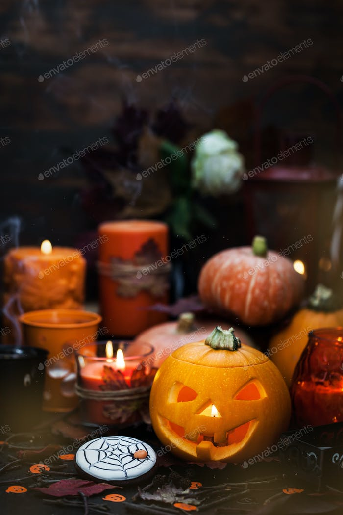 Halloween pumpkins and candles