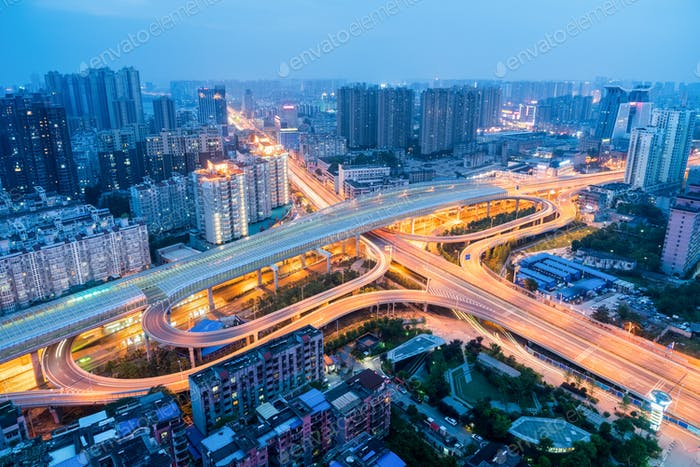 wuhan city interchange in nightfall