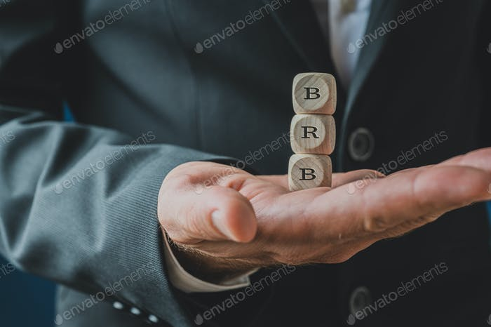 BRB sign on wooden dices