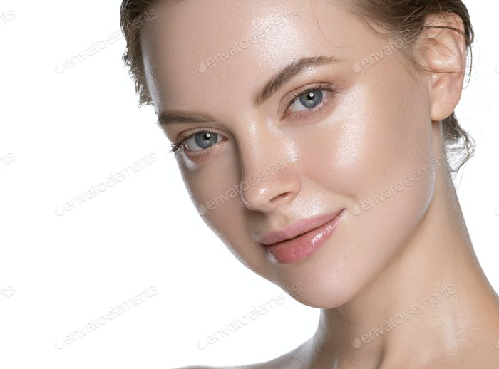 Modern woman healthy hydration clean skin face. Naked neck and shoulders. Isolated on white.
