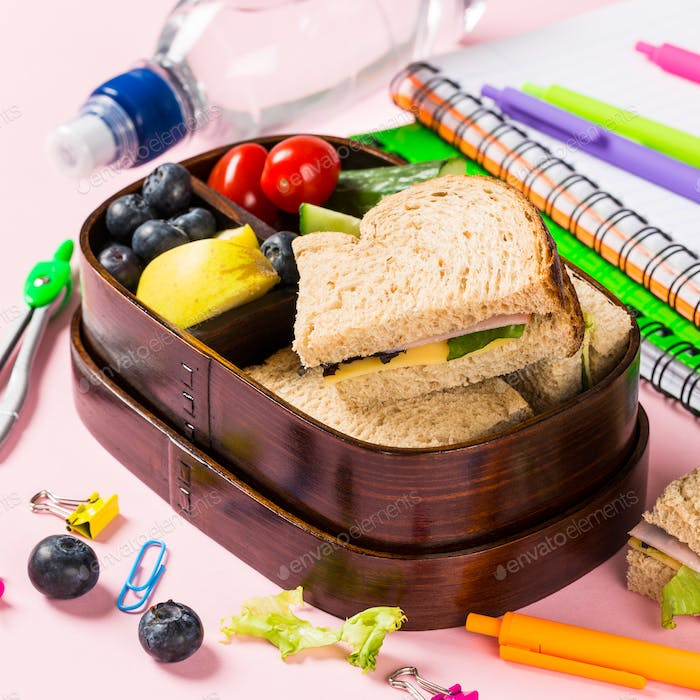 School lunch box with sandwiches