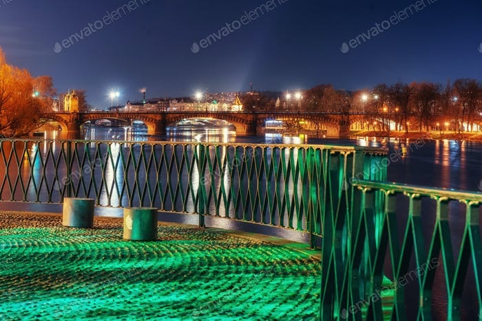 Scenic view of bridges on the Vltava river