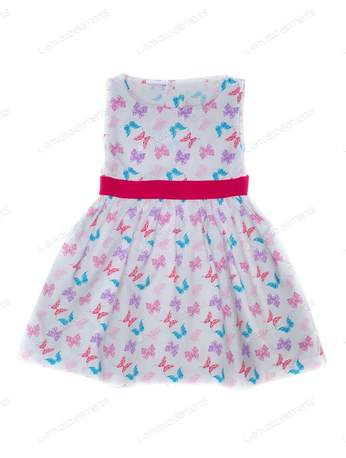 Baby dress with butterfly pattern.