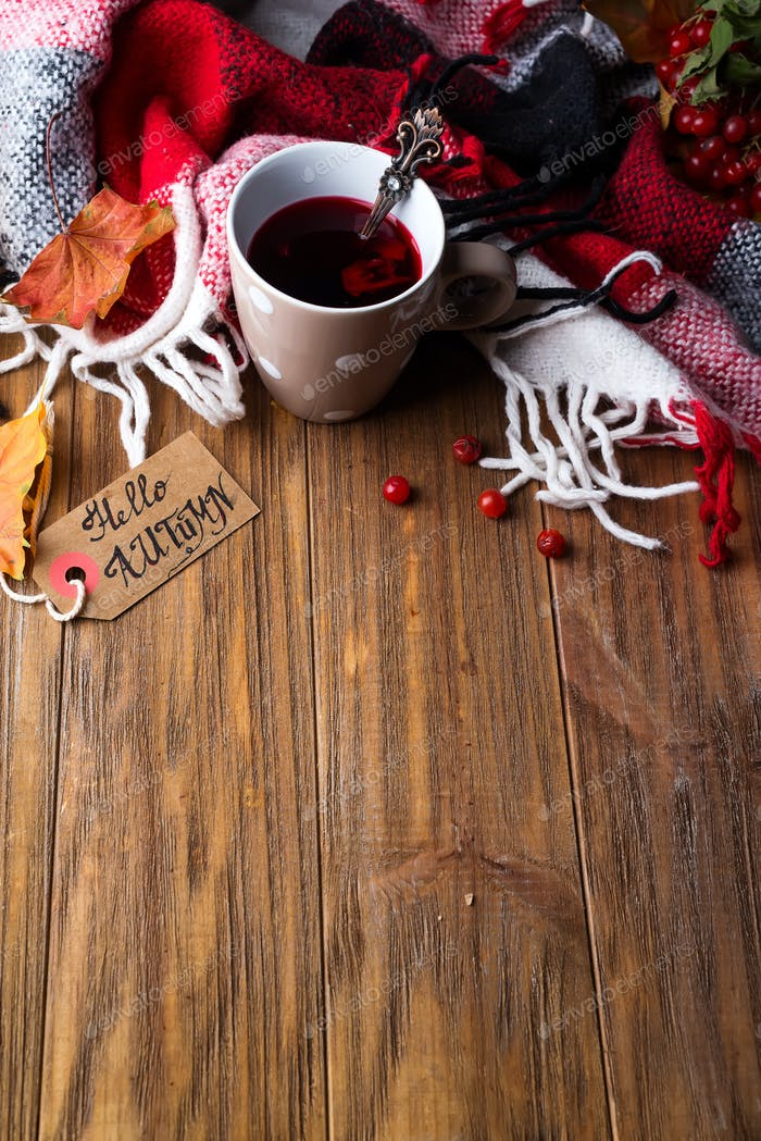 Herbst-Konzept mit Strickdecke und heißem Tee mit Beeren, Herbstblatt auf dunklem Holz
