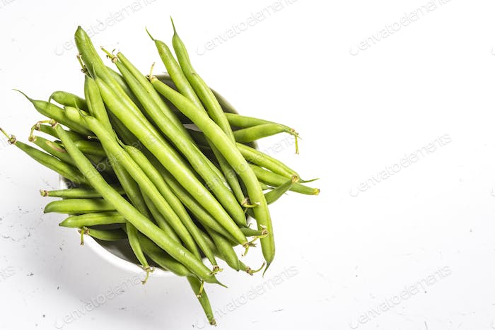 Green beans on white background
