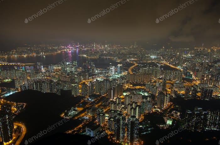 Cityscape Yau Tsim Mong of Hong Kong reflected in water