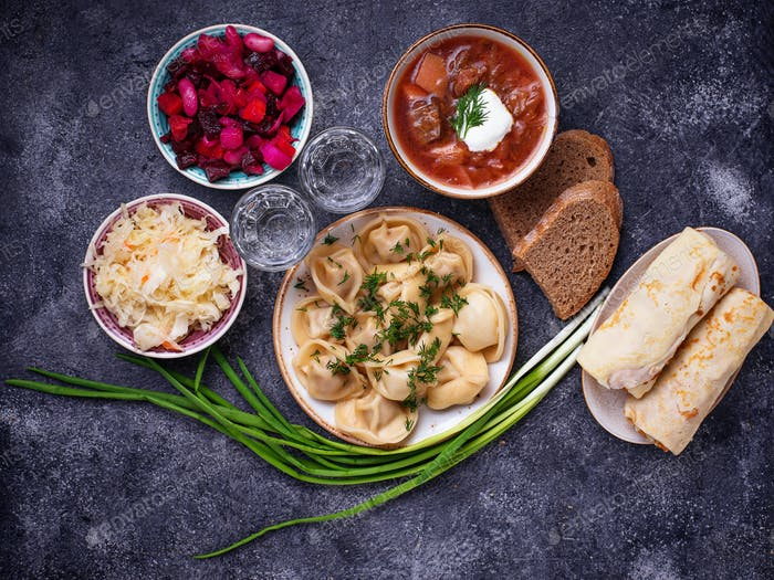 Traditional Russian dishes and vodka