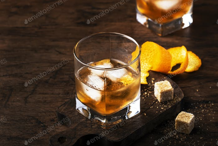 Old fashioned cocktail with bourbon