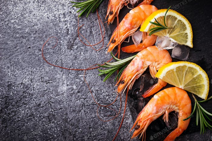 Prawns shrimps with lemon and rosemary.