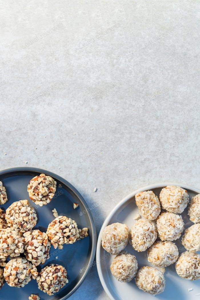 Glutenfreie vegane Trüffel, leckere proteinverpackte Snacks