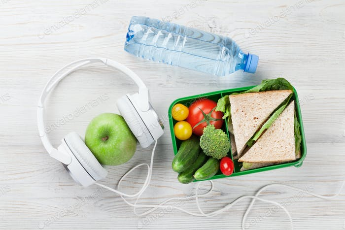 Lunch box and headphones