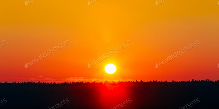 Sun Over Horizon, Sunrise Background. Sunset Over Dark Ground Fo