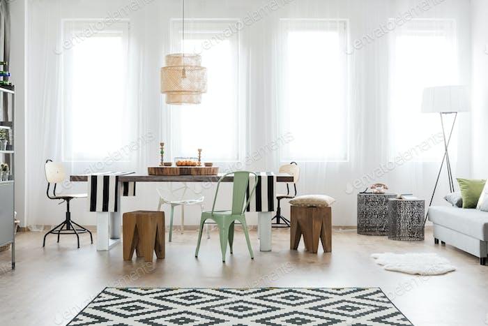 Bright dining room area