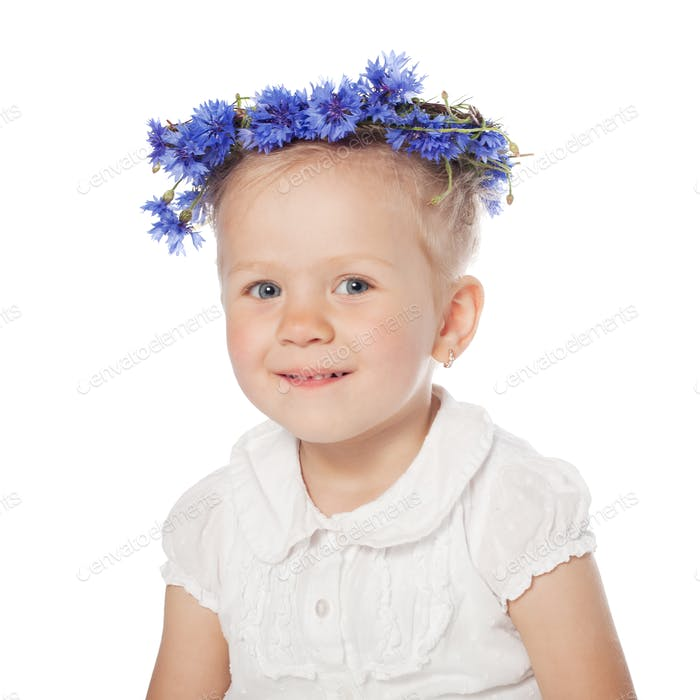 girl portrait with wreath of cornflowers