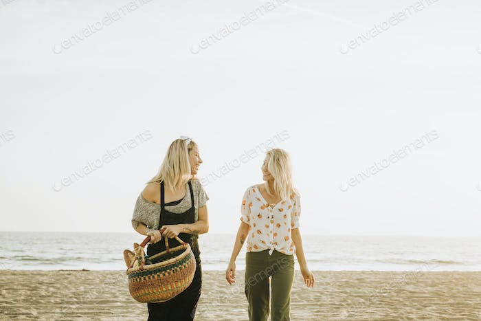 Friends walking at the beach with a picnic basket