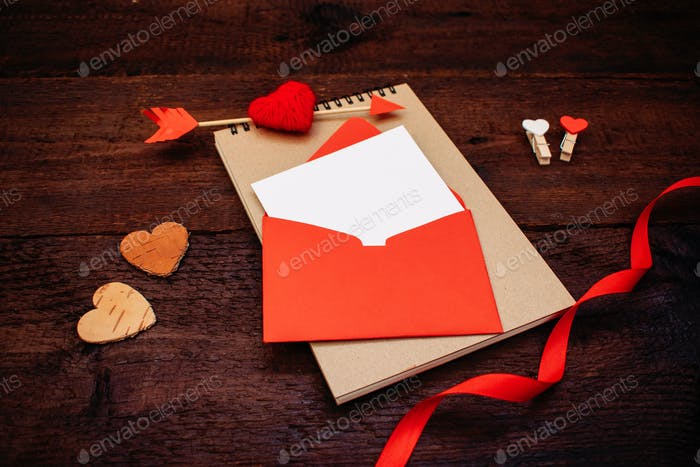 Valentines day greeting card, banner, mockup with copy space
